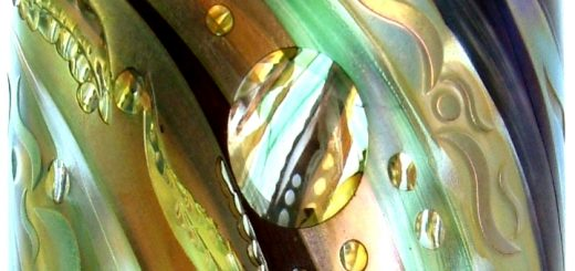 Detail of a spectacular vase from the collection by Okra Glass