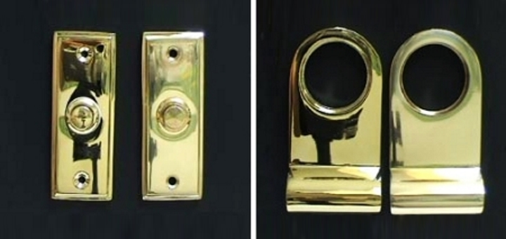 PVD brass has a deeper richer shine than polished brass - this image shows the difference