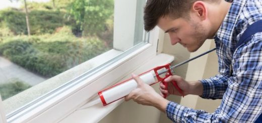 Sealing a window frame with silicone sealant