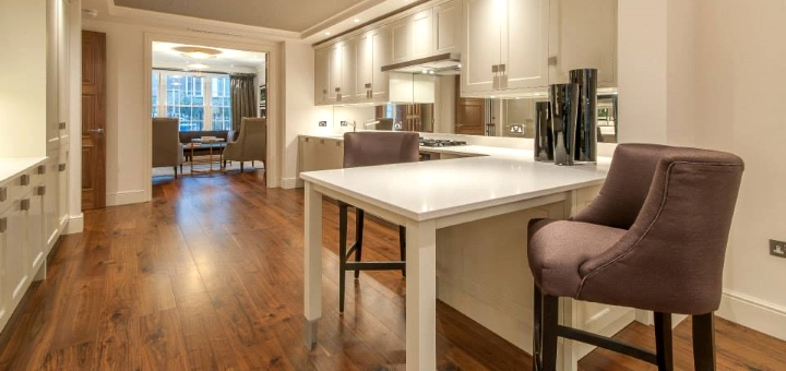 Engineered walnut flooring in a London home. Photo from JFJ Wood Flooring