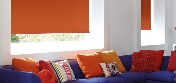 Orange blackout blind from Cheapest Blinds UK