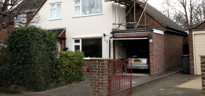 Garage extension on a property. Photograph by Roger Templeman