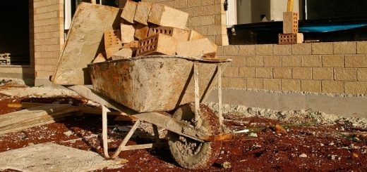Wheelbarrow on a building site. Photograph by Sandid at Pixabay