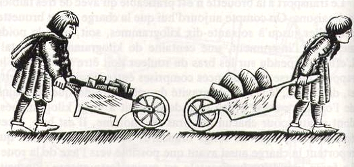 Examples of medieval wheelbarrows