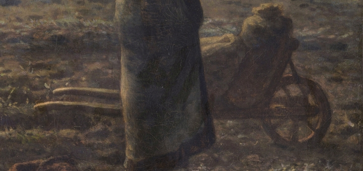 Wheelbarrow detail in 'The Angelus' by Millet