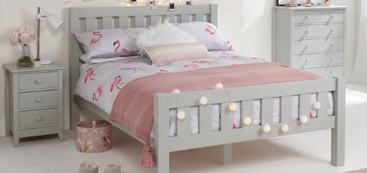 Jubilee Double Bed in Soft Grey from Room to Grow