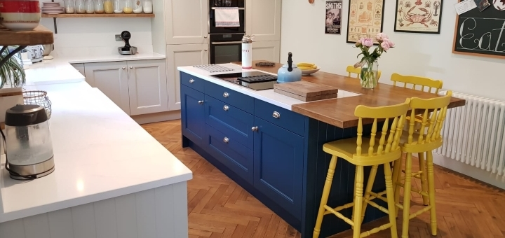 A compact but eye-catching kitchen island