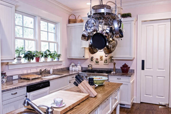 A hanging rack for pans can be visually striking as well as functional
