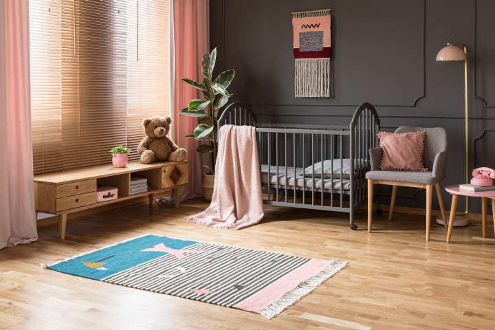 Matching accessories help create a soft and relaxing mood in this particular nursery