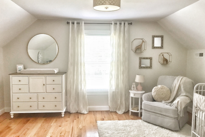 A nursery in neutral shades can suit a boy or a girl